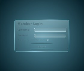 Member login interface transparent vector 01