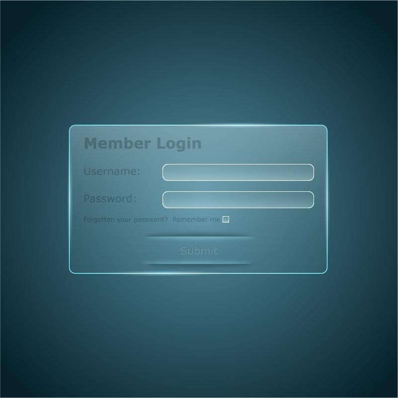Member login interface transparent vector 01