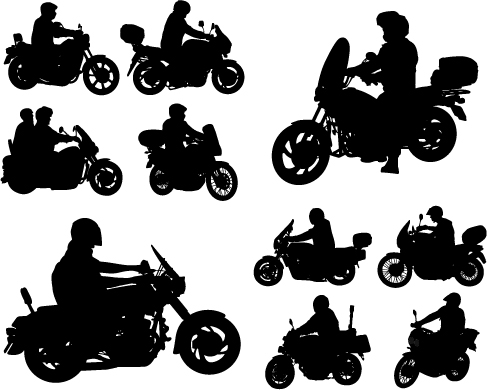 Motorcycle riders with motorcycle silhouettes vector set 01