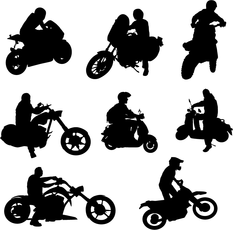 Motorcycle riders with motorcycle silhouettes vector set 02