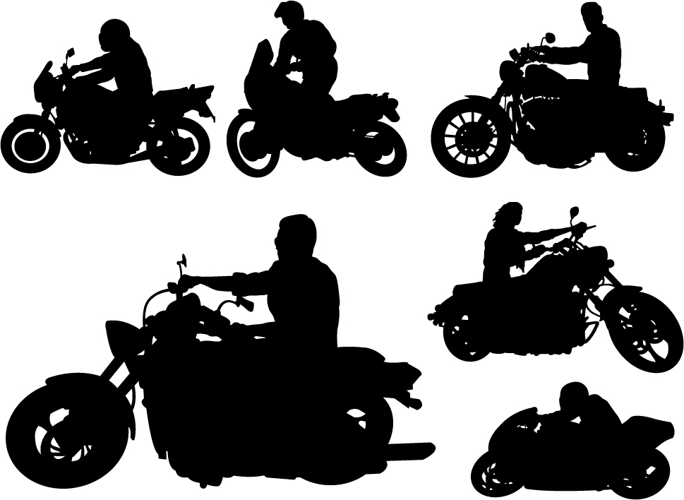 Motorcycle riders with motorcycle silhouettes vector set 03