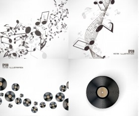 Music note and disc vector background 02