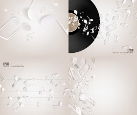 Music note and disc vector background 05
