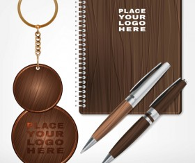 Notebook with keychain and pen vector design 01