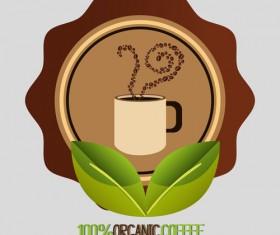 Organic coffee logos desgin vector 08