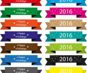 Origami ribbon banners design vector 02