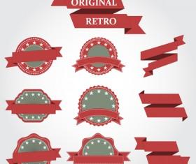 Original ribbon with retro labels vector 01