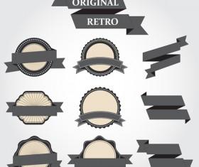Original ribbon with retro labels vector 02