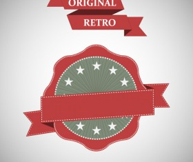 Original ribbon with retro labels vector 03