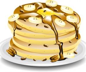 Pancake banana platter vector material