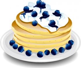 Pancake blueberry platter vector material