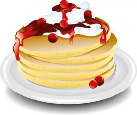 Pancake with cherry vector design