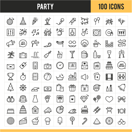 Party outline icons vector set