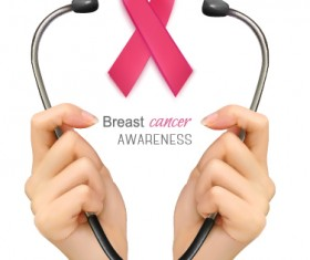 Poster breast cancer awareness with medical background vector