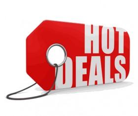 Red hot deals tags design vector 06
