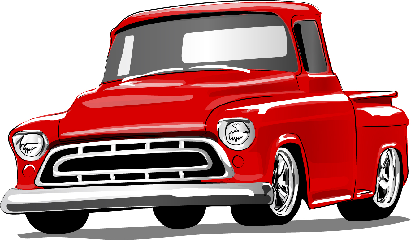 Red vintage car vector material 01 - Vector Car free download