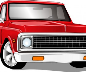 Red vintage car vector material 02