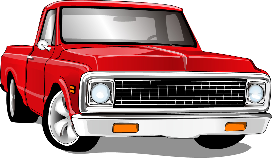 Red vintage car vector material 02 - Vector Car free download