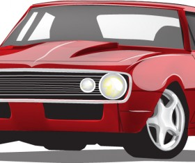 Red vintage car vector material 03