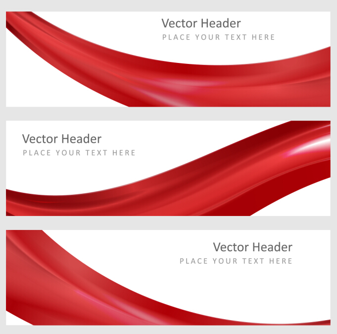 red wavy banners vector set 01 free download