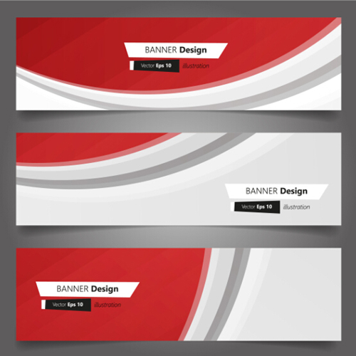 red wavy banners vector set 02 free download