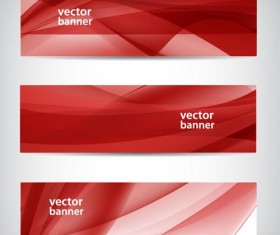 Red wavy banners vector set 03