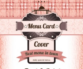 Retro styles restaurant menu cover vectors 04