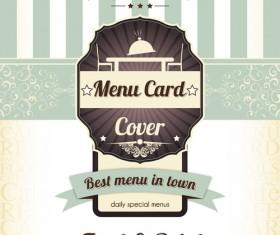 Retro styles restaurant menu cover vectors 05