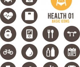 Round health icons vector set 01