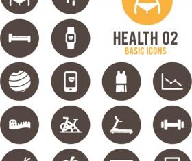 Round health icons vector set 02