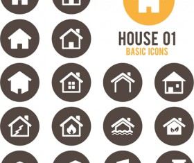 Round home icons vector 01