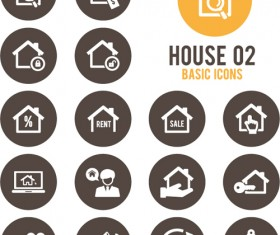 Round home icons vector 02