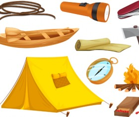 Rralistic camping equipment vector material 01