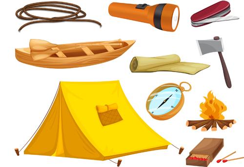 Rralistic camping equipment vector material 01