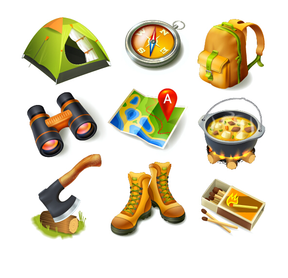 Rralistic camping equipment vector material 02