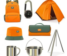 Rralistic camping equipment vector material 03