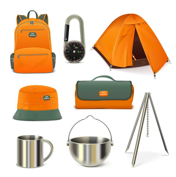 Rralistic camping equipment vector material 03