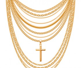 Shiny gold chains vector illustration 05