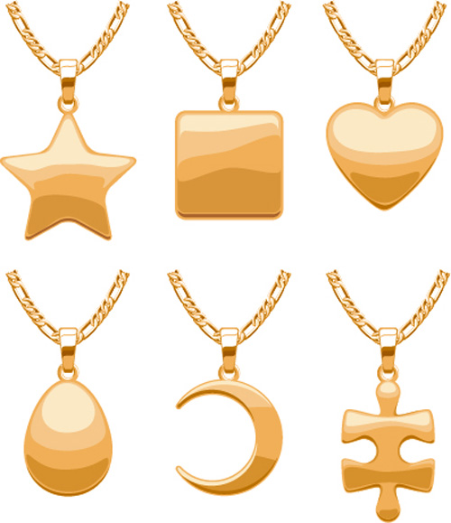 Shiny gold chains vector illustration 06
