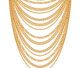 Shiny gold chains vector illustration 07