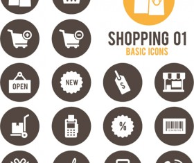 Shopping round icons vector design 01