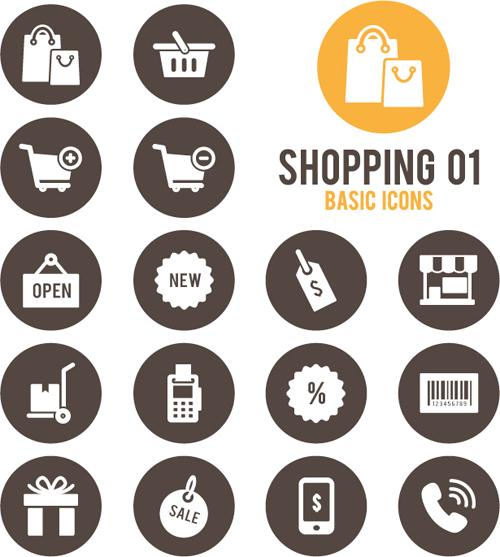 Shopping round icons vector design 01