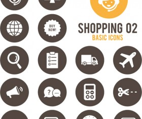 Shopping round icons vector design 02