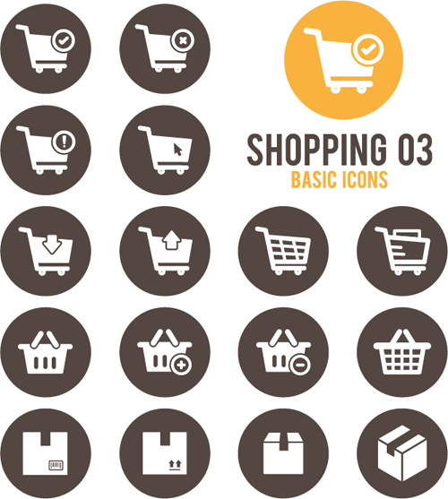Shopping round icons vector design 03