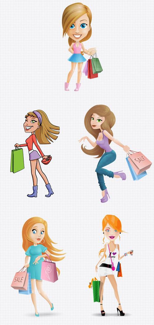 Shopping women psd graphic