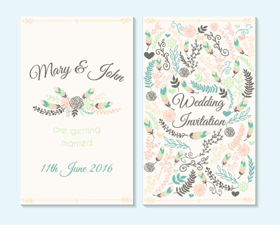 Simple Wedding Invitation Floral Card Vector 04