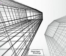 Skyscrapers drawings material vectors 08