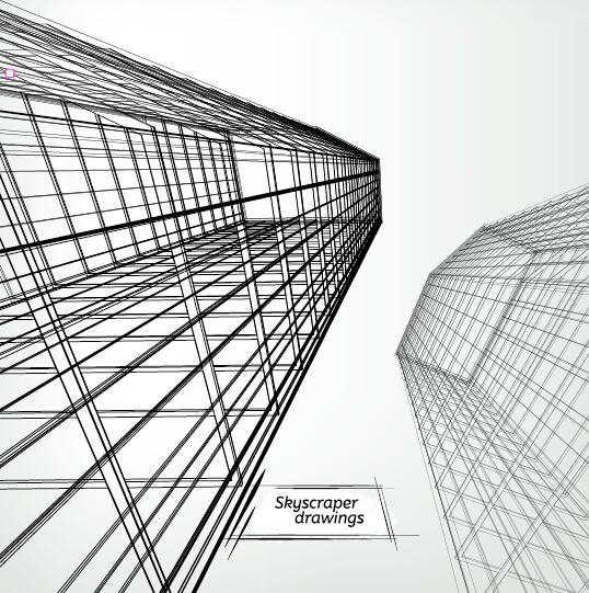 Architectural Drawings Of Skyscrapers skyscrapers drawings material vectors 08 - vector architecture