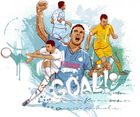 Soccer sport hand drawn vector 05
