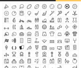 Sport round icons set